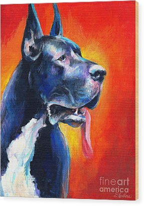 Great Dane Dog Portrait Wood Print by Svetlana Novikova