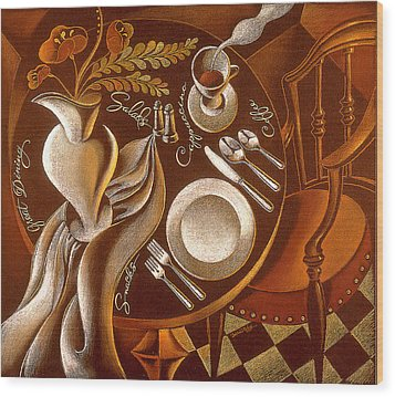 Wood Print featuring the painting Great Dining by Leon Zernitsky