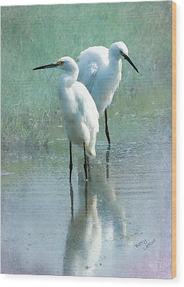 Great Egrets Wood Print by Betty LaRue
