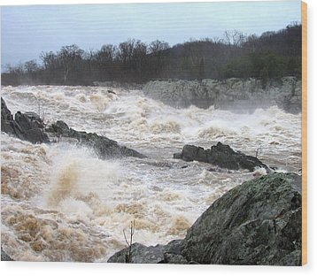 Great Falls Torrent Wood Print