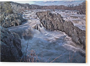 Great Falls Virginia Wood Print by Suzanne Stout