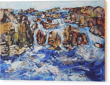 Great Falls Waterfall 201753 Wood Print by Alyse Radenovic