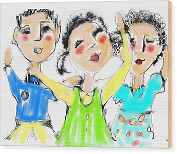 Wood Print featuring the digital art Great Friends by Elaine Lanoue