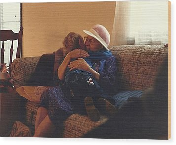 Great-grandma Hug Wood Print by Elizabeth Sullivan