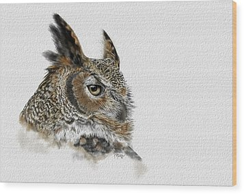 Great Horned Owl Wood Print by Kathie Miller