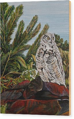 Wood Print featuring the painting Great Horned Owl - Owl On The Rocks by Marilyn  McNish