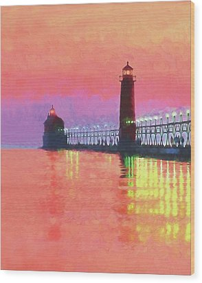 Great Lakes Light Wood Print by Dennis Cox WorldViews