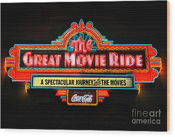 Great Movie Ride Neon Sign Hollywood Studios Walt Disney World Prints Ink Outlines Wood Print by Shawn O'Brien