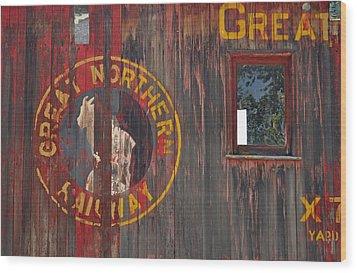Great Northern Railway Old Boxcar Wood Print