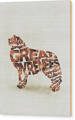 Wood Print featuring the painting Great Pyrenees Watercolor Painting / Typographic Art by Inspirowl Design