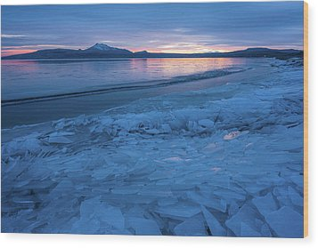 Great Salt Lake Ice Sheets Wood Print