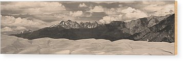 Great Sand Dunes Panorama 1 Sepia Wood Print by James BO  Insogna