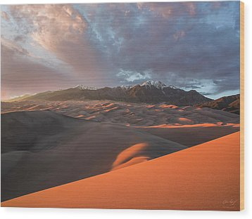 Great Sand Dunes Sunset Wood Print by Aaron Spong