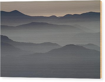 Great Smokey Mountains Shrouded In Fog Wood Print by Jetson Nguyen