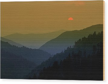 Great Smoky Mountain Sunset Wood Print by Thomas Schoeller