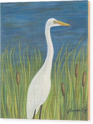 Great White Egret By Pond Wood Print by Jeanne Kay Juhos