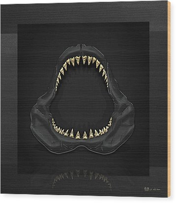 Great White Shark Jaws With Gold Teeth  Wood Print by Serge Averbukh