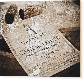 Great Wines Of Bordeaux - Chateau Latour 1955 Wood Print by Frank Tschakert
