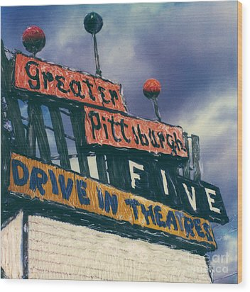 Greater Pittsburgh Five Drive-in Wood Print by Steven  Godfrey