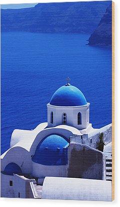 Greek Blue Vertical Wood Print