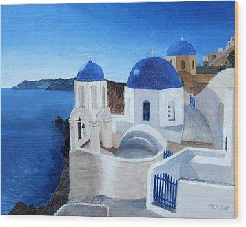 Greek Church At Santorini Wood Print by Philip Hall