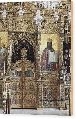 Greek Orthodox Alter Wood Print by John Rizzuto