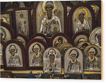 Greek Orthodox Church Icons Wood Print
