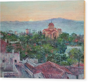 Greek Orthodox Sunset Wood Print