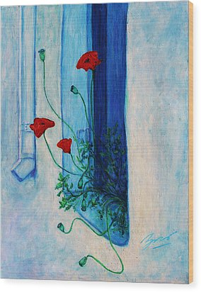Wood Print featuring the painting Greek Poppies by Xueling Zou