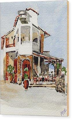 Greek Taverna. Wood Print by Mike Lester