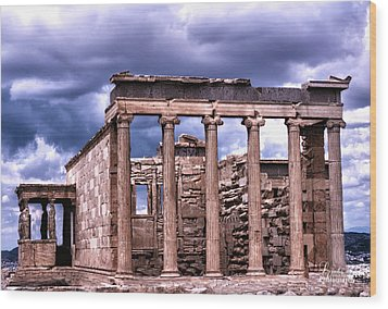 Wood Print featuring the photograph Greek Temple by Linda Constant