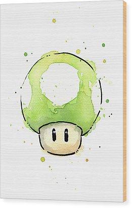 Green 1up Mushroom Wood Print