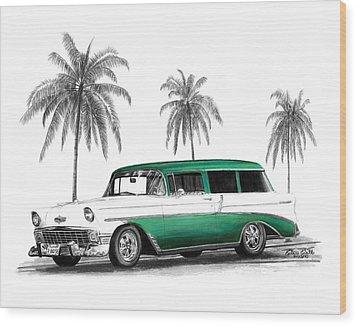 Green 56 Chevy Wagon Wood Print by Peter Piatt