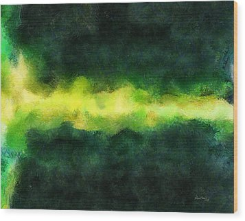 Green Abstract Wood Print by Russ Harris