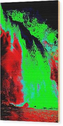 Green And Red Nightfall Wood Print by Erika Swartzkopf