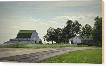Green And White Farm Wood Print by Cricket Hackmann