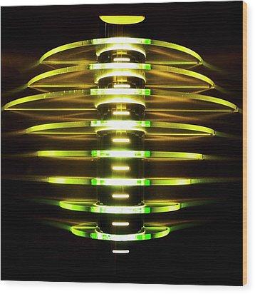 Green And Yellow Light Reflectors Wood Print
