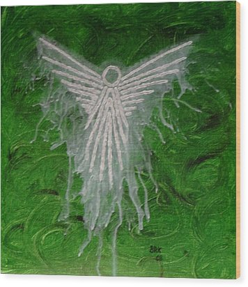 Green Angel Wood Print by Bo Klinge