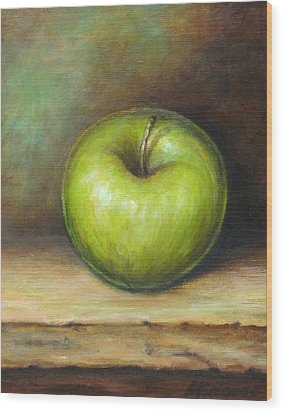 Green Apple Wood Print by Mirjana Gotovac