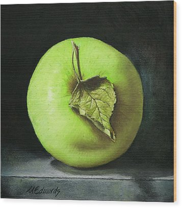 Green Apple With Leaf Wood Print