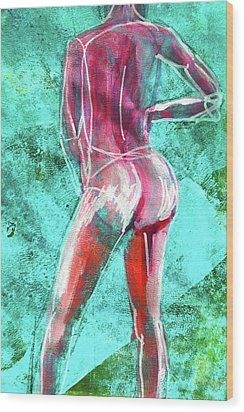 Wood Print featuring the painting Green Back Figure No. 4 by Nancy Merkle