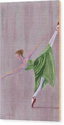 Wood Print featuring the painting Green Ballerina by Jamie Frier