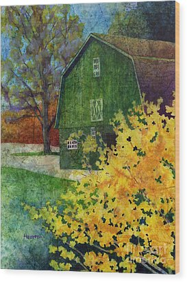Wood Print featuring the painting Green Barn by Hailey E Herrera