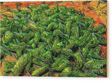 Green Bean Montage Wood Print by Ron Bissett