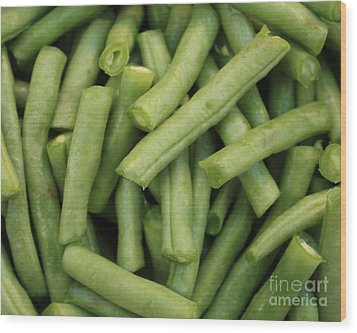 Green Beans Close-up Wood Print by Carol Groenen