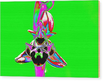 Green Bee Orchid Wood Print