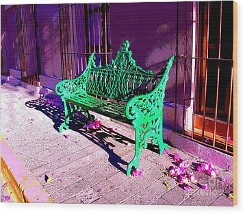 Green Bench By Michael Fitzpatrick Wood Print by Mexicolors Art Photography