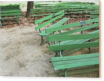 Green Benches- Fine Art Photo By Linda Woods Wood Print by Linda Woods
