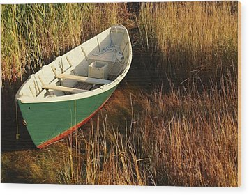 Green Boat Wood Print by AnnaJanessa PhotoArt