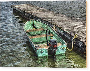 Green Boat Wood Print by Irwin Seidman